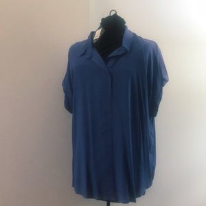 NWT! Ava & Vic Blue polo cocoon sleeve blouse / 2X